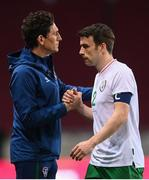 30 March 2021; Seamus Coleman of Republic of Ireland, right, and Republic of Ireland coach Keith Andrews following the international friendly match between Qatar and Republic of Ireland at Nagyerdei Stadion in Debrecen, Hungary. Photo by Stephen McCarthy/Sportsfile