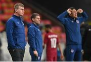 30 March 2021; Republic of Ireland manager Stephen Kenny during the international friendly match between Qatar and Republic of Ireland at Nagyerdei Stadion in Debrecen, Hungary. Photo by Stephen McCarthy/Sportsfile