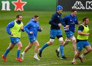 1 April 2021; Leinster players, from left, Michael Bent, Jordan Larmour, Devin Toner, Ryan Baird and Ed Byrne during the Leinster Rugby captains run at the RDS Arena in Dublin. Photo by Ramsey Cardy/Sportsfile