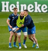 1 April 2021; Josh van der Flier, left, Scott Fardy, centre, and Jonathan Sexton during the Leinster Rugby captains run at the RDS Arena in Dublin. Photo by Ramsey Cardy/Sportsfile