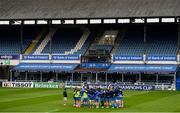 1 April 2021; The Leinster team huddle during the Leinster Rugby captains run at the RDS Arena in Dublin. Photo by Ramsey Cardy/Sportsfile
