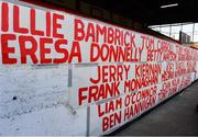2 April 2021; A general view of names of some of the Shelbourne supporters who have died since the start of the COVID-19 pandemic on the wall of Section E before the SSE Airtricity League First Division match between Shelbourne and Bray Wanderers at Tolka Park in Dublin. Photo by Piaras Ó Mídheach/Sportsfile