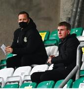 2 April 2021; Republic of Ireland manager Stephen Kenny, right, and League of Ireland Director Mark Scanlon during the SSE Airtricity League Premier Division match between Shamrock Rovers and Dundalk at Tallaght Stadium in Dublin. Photo by Eóin Noonan/Sportsfile