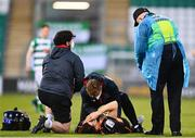 2 April 2021; Brian Gartland of Dundalk is treated for an injury during the SSE Airtricity League Premier Division match between Shamrock Rovers and Dundalk at Tallaght Stadium in Dublin. Photo by Eóin Noonan/Sportsfile