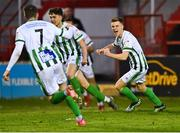 2 April 2021; Brandon Kavanagh of Bray Wanderers, right, celebrates scoring his side's first goal during the SSE Airtricity League First Division match between Shelbourne and Bray Wanderers at Tolka Park in Dublin. Photo by Piaras Ó Mídheach/Sportsfile