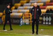 2 April 2021; Dundalk team manager Shane Keegan, right, and Shamrock Rovers manager Stephen Bradley during the SSE Airtricity League Premier Division match between Shamrock Rovers and Dundalk at Tallaght Stadium in Dublin. Photo by Eóin Noonan/Sportsfile