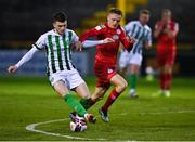 2 April 2021; Ryan Graydon of Bray Wanderers in action against Jonathon Lunney of Shelbourne during the SSE Airtricity League First Division match between Shelbourne and Bray Wanderers at Tolka Park in Dublin. Photo by Piaras Ó Mídheach/Sportsfile