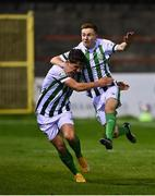 2 April 2021; Brandon Kavanagh of Bray Wanderers, right, celebrates with team-mate Dylan Barnett after scoring his side's third goal during the SSE Airtricity League First Division match between Shelbourne and Bray Wanderers at Tolka Park in Dublin. Photo by Piaras Ó Mídheach/Sportsfile