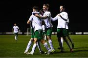 2 April 2021; Keith Dalton of Cabinteely, second from left, is congratulated by team-mates after scoring his side's first goal during the SSE Airtricity League First Division match between Cabinteely and Cork City at Stradbrook Park in Blackrock, Dublin. Photo by David Fitzgerald/Sportsfile