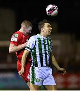 2 April 2021; Sean Quinn of Shelbourne in action Darren Cravan of Bray Wanderers during the SSE Airtricity League First Division match between Shelbourne and Bray Wanderers at Tolka Park in Dublin. Photo by Piaras Ó Mídheach/Sportsfile