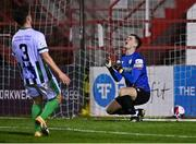 2 April 2021; Bray Wanderers goalkeeper Brian Maher reacts after he failed to stop a penalty from Georgie Poynton for Shelbourne's third goal during the SSE Airtricity League First Division match between Shelbourne and Bray Wanderers at Tolka Park in Dublin. Photo by Piaras Ó Mídheach/Sportsfile