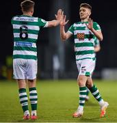 2 April 2021; Dylan Watts of Shamrock Rovers celebrates with Ronan Finn, 8, after scoring his side's second goal during the SSE Airtricity League Premier Division match between Shamrock Rovers and Dundalk at Tallaght Stadium in Dublin. Photo by Seb Daly/Sportsfile