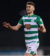 2 April 2021; Dylan Watts of Shamrock Rovers celebrates after scoring his side's second goal during the SSE Airtricity League Premier Division match between Shamrock Rovers and Dundalk at Tallaght Stadium in Dublin. Photo by Seb Daly/Sportsfile