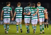 2 April 2021; Dylan Watts, second right, is congratulated by Shamrock Rovers team-mates, from left, Lee Grace, Sean Hoare, Chris McCann and Liam Scales during the SSE Airtricity League Premier Division match between Shamrock Rovers and Dundalk at Tallaght Stadium in Dublin. Photo by Seb Daly/Sportsfile