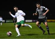 2 April 2021; Kieran Marty Waters of Cabinteely in action against Ronan Hurley of Cork City during the SSE Airtricity League First Division match between Cabinteely and Cork City at Stradbrook Park in Blackrock, Dublin. Photo by David Fitzgerald/Sportsfile