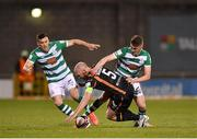 2 April 2021; Chris Shields of Dundalk in action against Dylan Watts of Shamrock Rovers during the SSE Airtricity League Premier Division match between Shamrock Rovers and Dundalk at Tallaght Stadium in Dublin. Photo by Seb Daly/Sportsfile