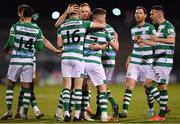 2 April 2021; Dylan Watts of Shamrock Rovers, 7, is congratulated by team-mates, from left, Danny Mandroiu, Gary O'Neill, Sean Hoare, Chris McCann and Aaron Greene after scoring his side's second goal during the SSE Airtricity League Premier Division match between Shamrock Rovers and Dundalk at Tallaght Stadium in Dublin. Photo by Seb Daly/Sportsfile