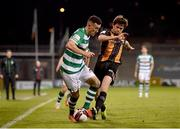 2 April 2021; Aaron Greene of Shamrock Rovers in action against Sam Stanton of Dundalk during the SSE Airtricity League Premier Division match between Shamrock Rovers and Dundalk at Tallaght Stadium in Dublin. Photo by Seb Daly/Sportsfile