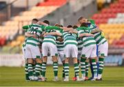 2 April 2021; Shamrock Rovers players form a huddle before the SSE Airtricity League Premier Division match between Shamrock Rovers and Dundalk at Tallaght Stadium in Dublin. Photo by Seb Daly/Sportsfile