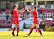 3 April 2021; Emily Whelan of Shelbourne, right, celebrates with team-mate Jess Ziu after scoring her side's first goal during the SSE Airtricity Women's National League match between Cork City and Shelbourne at Turners Cross in Cork. Photo by Eóin Noonan/Sportsfile