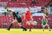 3 April 2021; Emily Whelan of Shelbourne blocks a clearence by Abby McCarthy of Cork City resulting in a goal during the SSE Airtricity Women's National League match between Cork City and Shelbourne at Turners Cross in Cork. Photo by Eóin Noonan/Sportsfile