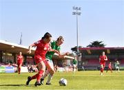 3 April 2021; Jess Ziu of Shelbourne is tackled by Shaunagh McCarthy of Cork City during the SSE Airtricity Women's National League match between Cork City and Shelbourne at Turners Cross in Cork. Photo by Eóin Noonan/Sportsfile
