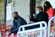 3 April 2021; Republic of Ireland manager Vera Pauw with goalkeeping coach Jan Willem van Ede during the SSE Airtricity Women's National League match between Cork City and Shelbourne at Turners Cross in Cork. Photo by Eóin Noonan/Sportsfile