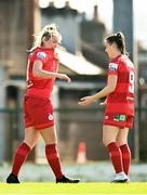 3 April 2021; Saoirse Noonan of Shelbourne, left, celebrates with teammate Emily Whelan after scoring her side's thrid goal during the SSE Airtricity Women's National League match between Cork City and Shelbourne at Turners Cross in Cork. Photo by Eóin Noonan/Sportsfile