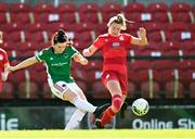 3 April 2021; Ciara McNamara of Cork City in action against Saoirse Noonan of Shelbourne during the SSE Airtricity Women's National League match between Cork City and Shelbourne at Turners Cross in Cork. Photo by Eóin Noonan/Sportsfile