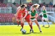 3 April 2021; Emily Whelan of Shelbourne in action against Lauren Walsh of Cork City during the SSE Airtricity Women's National League match between Cork City and Shelbourne at Turners Cross in Cork. Photo by Eóin Noonan/Sportsfile
