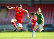 3 April 2021; Jess Ziu of Shelbourne in action against Shaunagh McCarthy of Cork City during the SSE Airtricity Women's National League match between Cork City and Shelbourne at Turners Cross in Cork. Photo by Eóin Noonan/Sportsfile
