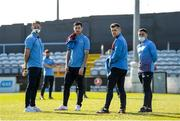 3 April 2021; Drogheda United players, from left, Dane Massey, Dinny Corcoran, Ronan Murray and Chris Lyon walk the pitch ahead of the SSE Airtricity League Premier Division match between Drogheda United and Finn Harps at Head in the Game Park in Drogheda, Louth. Photo by Ben McShane/Sportsfile