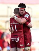 3 April 2021; Munster players Keith Earls, left, and Billy Holland, dejected after their side's defeat in the Heineken Champions Cup Round of 16 match between Munster and Toulouse at Thomond Park in Limerick. Photo by Brendan Moran/Sportsfile