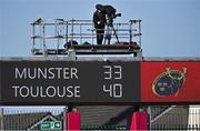 3 April 2021; A general view of the scoreboard after the Heineken Champions Cup Round of 16 match between Munster and Toulouse at Thomond Park in Limerick. Photo by Ramsey Cardy/Sportsfile