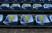3 April 2021; COVID-19 notices on seats in the stand before the SSE Airtricity Women's National League match between DLR Waves and Wexford Youths at UCD Bowl in Belfield, Dublin. Photo by Piaras Ó Mídheach/Sportsfile