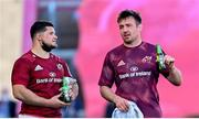 3 April 2021; Julien Marchand of Toulouse, left, and Niall Scannell of Munster in conversation after the Heineken Champions Cup Round of 16 match between Munster and Toulouse at Thomond Park in Limerick. Photo by Ramsey Cardy/Sportsfile