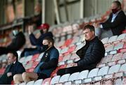 3 April 2021; Republic of Ireland manager Stephen Kenny, right, alongside Bohemians COO Daniel Lambert during the SSE Airtricity League Premier Division match between Bohemians and St Patrick's Athletic at Dalymount Park in Dublin. Photo by Seb Daly/Sportsfile
