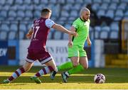 3 April 2021; Mark Coyle of Finn Harps in action against Ronan Murray of Drogheda United during the SSE Airtricity League Premier Division match between Drogheda United and Finn Harps at Head in the Game Park in Drogheda, Louth. Photo by Ben McShane/Sportsfile