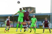 3 April 2021; Kosovar Sadiki of Finn Harps in action against Jake Hyland, centre, and Dane Massey of Drogheda United during the SSE Airtricity League Premier Division match between Drogheda United and Finn Harps at Head in the Game Park in Drogheda, Louth. Photo by Ben McShane/Sportsfile