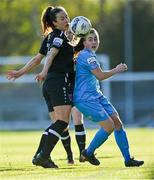 3 April 2021; Rachel Doyle of DLR Waves in action against Lynn Marie Grant of Wexford Youths during the SSE Airtricity Women's National League match between DLR Waves and Wexford Youths at UCD Bowl in Belfield, Dublin. Photo by Piaras Ó Mídheach/Sportsfile