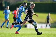 3 April 2021; Nicola Sinnott of Wexford Youths in action against Shauna Carroll of DLR Waves during the SSE Airtricity Women's National League match between DLR Waves and Wexford Youths at UCD Bowl in Belfield, Dublin. Photo by Piaras Ó Mídheach/Sportsfile
