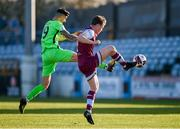 3 April 2021; Daniel O'Reilly of Drogheda United in action against Adam Foley of Finn Harps during the SSE Airtricity League Premier Division match between Drogheda United and Finn Harps at Head in the Game Park in Drogheda, Louth. Photo by Ben McShane/Sportsfile
