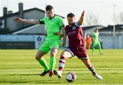 3 April 2021; Dane Massey of Drogheda United in action against Karl O'Sullivan of Finn Harps during the SSE Airtricity League Premier Division match between Drogheda United and Finn Harps at Head in the Game Park in Drogheda, Louth. Photo by Ben McShane/Sportsfile