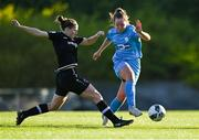 3 April 2021; Carla McManus of DLR Waves in action against Edel Kennedy of Wexford Youths during the SSE Airtricity Women's National League match between DLR Waves and Wexford Youths at UCD Bowl in Belfield, Dublin. Photo by Piaras Ó Mídheach/Sportsfile