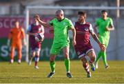3 April 2021; Mark Coyle of Finn Harps in action against Gary Deegan of Drogheda United during the SSE Airtricity League Premier Division match between Drogheda United and Finn Harps at Head in the Game Park in Drogheda, Louth. Photo by Ben McShane/Sportsfile