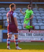 3 April 2021; Karl O'Sullivan of Finn Harps celebrates after scoring his side's first goal during the SSE Airtricity League Premier Division match between Drogheda United and Finn Harps at Head in the Game Park in Drogheda, Louth. Photo by Ben McShane/Sportsfile