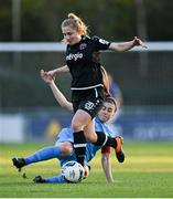 3 April 2021; Ellen Molloy of Wexford Youths is tackled by Rachel Doyle of DLR Waves during the SSE Airtricity Women's National League match between DLR Waves and Wexford Youths at UCD Bowl in Belfield, Dublin. Photo by Piaras Ó Mídheach/Sportsfile