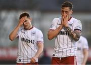 3 April 2021; Rob Cornwall of Bohemians, right, and Anto Breslin following their side's defeat in the SSE Airtricity League Premier Division match between Bohemians and St Patrick's Athletic at Dalymount Park in Dublin. Photo by Harry Murphy/Sportsfile