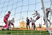 3 April 2021; Ronan Coughlan of St Patrick's Athletic, second from right, heads to score his side's first goal during the SSE Airtricity League Premier Division match between Bohemians and St Patrick's Athletic at Dalymount Park in Dublin. Photo by Seb Daly/Sportsfile