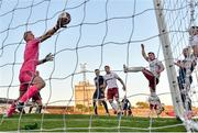 3 April 2021; Bohemians goalkeeper James Talbot fails to keep out a header from St Patrick's Athletic's Ronan Coughlan during the SSE Airtricity League Premier Division match between Bohemians and St Patrick's Athletic at Dalymount Park in Dublin. Photo by Seb Daly/Sportsfile